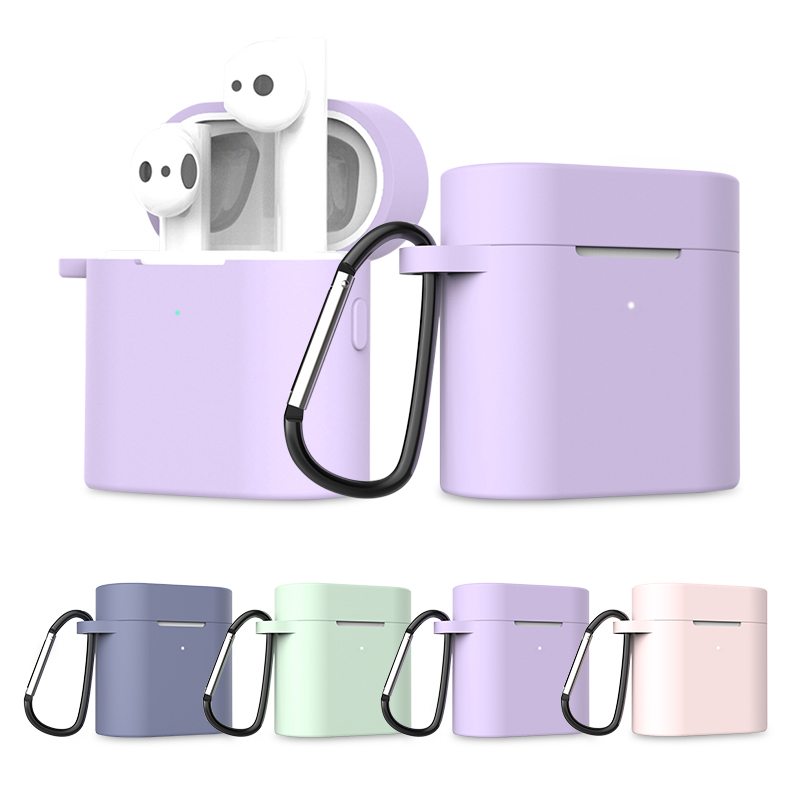 Case For Xiaomi Mi Air 2 TPU Full Cover Case For Airdots Pro 2 TWS Wireless Bluetooth Earphone Protection Accessories With Hooks