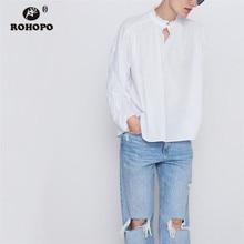 ROHOPO Overlocked Round Collar Long Sleeve White Pullover Blouse Female Autumn Flarem Skirt Top Shirt #8103