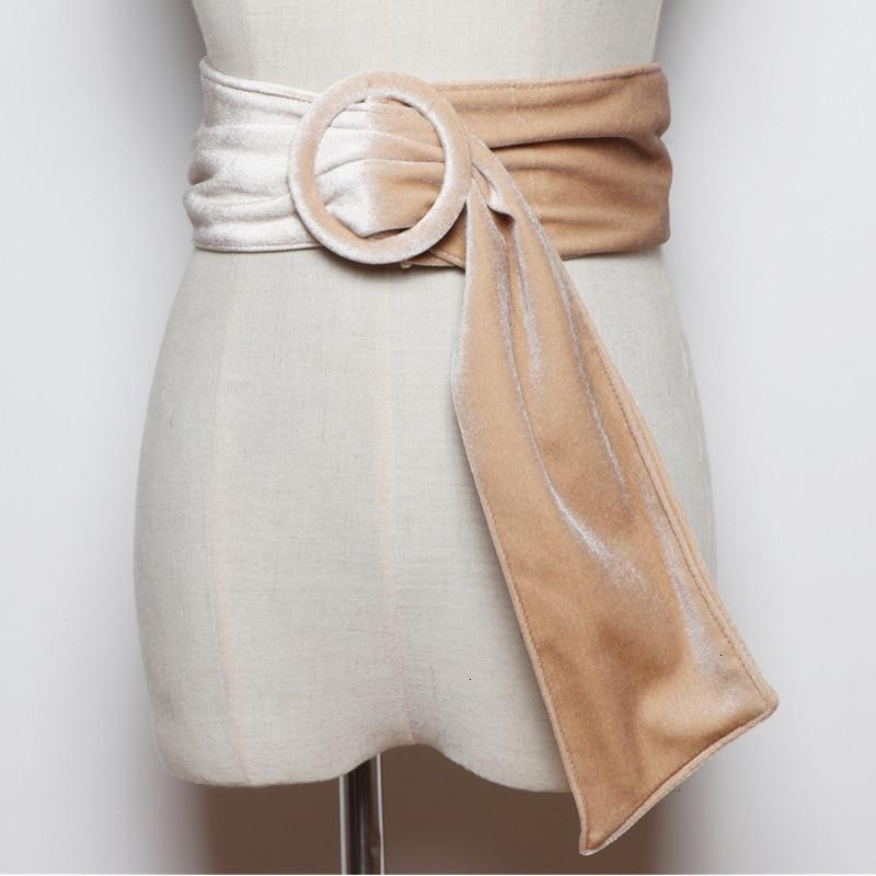 TVVOVVIN 2020 Korean Version Of The Wild Round Buckle Velvet Girdle Simple With Skirt Shirt Decorative Wide Belt PC206