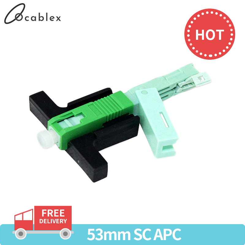 Hot Sale 50PC 100 PCS SC APC Fast Connector Single-Mode Connector FTTH Tool Cold Connector Tool Fiber Optic Fast Connnector 53mm