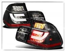 цена на Sulinso For 2002-2005 BMW-E46 3-Series 4-Door Sedan Black Lumileds LED Tail Lights Brake Lamps w/LED Strip Left+Right