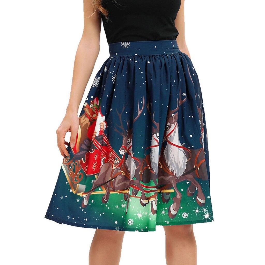 Women Christmas Santa 3D Santa Claus Snow Print Flare Elastic High Waist Cosplay Ball Gown Skirt Casual Princess Party Skirt hot