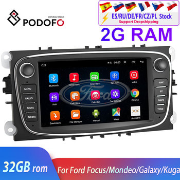 Podofo 2 din Android 8.1 For Ford Focus EXI MT 2 3 Mk2 Mk3 S-Max Mondeo 9 Galaxy C-Max 2004-2011 Radio Car GPS Multimedia Player image