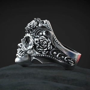 Gothic Mexican Flower Sugar Skull Rings Women cute Stainless Steel Punk Flowers Ring Jewelry