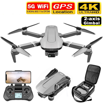 F4 GPS Drone with 5G WiFi FPV 2-Axis 4K Dual Camera Anti-Shake Gimbal 2000m Image Transmission Brushless Professional RC Quadco