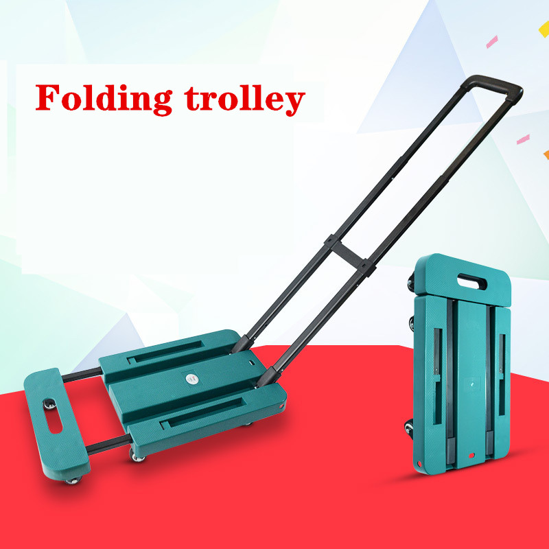 Folding Trolley Folding Flat Car Six Wheel Universal Wheel Handcart Portable Goods Trolley Household Handcart