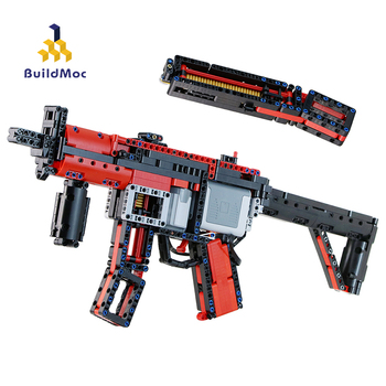 BuildMOC WW2 Military Pistol Motor Power MOC-29369 MP5 Police Submachine Gun Model Building Blocks Children Toys For Boys Gifts