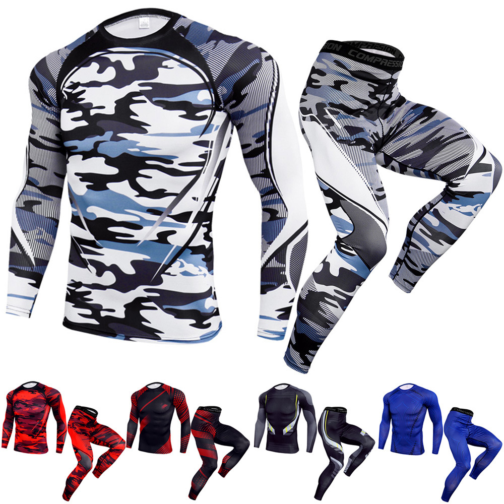 Tracksuit Men Sportswear Sports Pants For Men Gym Clothing Long Sleeve Sports T Shirt Running Sets Yoga Suit For Men Leggings