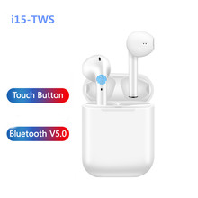 i15 tws bluetooth V5 HIFI earphone with mic wireless Touch headphone IP5 sport Music Stereo Earbuds For iPhone xiaomi huawei