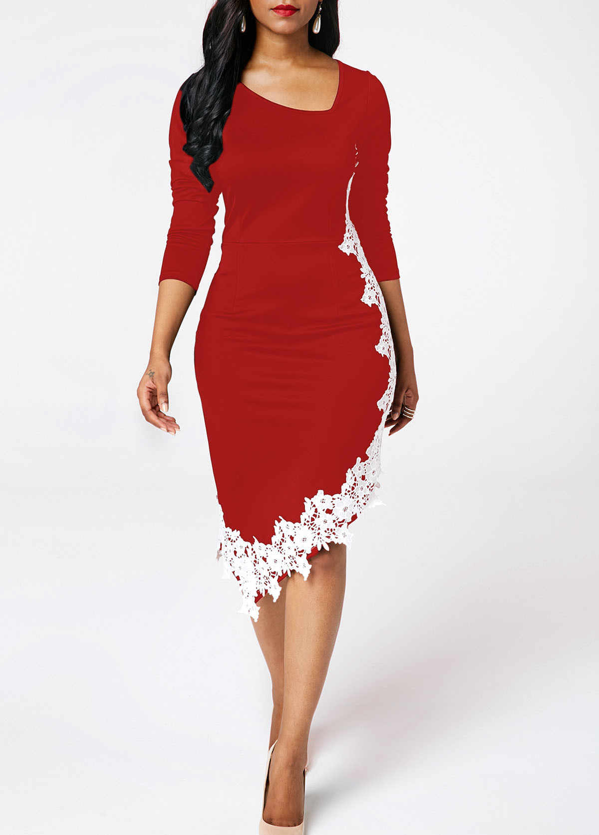 Slim Fit Dress Women Bodycon Lace Knee Length Ol Plus Size Female Dresses Casual Long Sleeve Sheath Club Party Dress Vestidos Dresses Aliexpress Team your fit & flare midi dress with strappy sandals for a casual sunday brunch and add in some amaze lace up ankle boots for day to evening. slim fit dress women bodycon lace knee length ol plus size female dresses casual long sleeve sheath club party dress vestidos