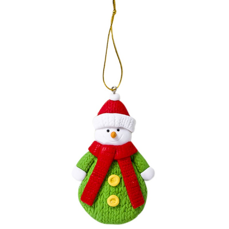 Polymer Clay Santa Claus Snowman Hanging Doll Christmas Tree Pendant Decorations Christmas Ornaments Colorful