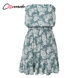 Image 5 - Conmoto ruffles beach boho dresses women strapless elastic waist dress mini floral blue print 2020 summer dress vestidos