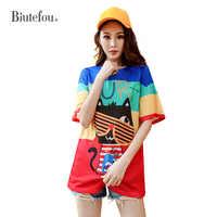 Летняя женская футболка с люверсами, модная разноцветная женская футболка с принтом, женская футболка, 2020