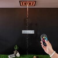 LED Shower Set Mist Spray 60*60cm Embedded Ceiling Rainfall Waterfall Showerhead Mixer Faucet Bathroom Rain Top Curtain Overhead