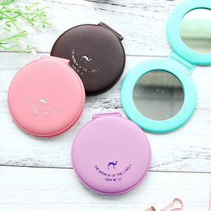 1pc PU Leather Cover Round Makeup Mirror Mini Double Sides Pocket Mirror Detachable Foldable Camel Pattern Cosmetic Mirror(China)
