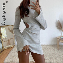 Cryptographic Autumn Draped Flare Sleeve Cut-Out Mini Dresses Knitting Round Neck Ruched Dress Skinny Chic Casual Streetwear