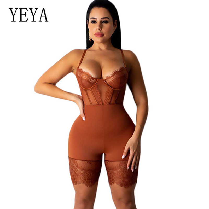 YEYA Women Sexy Sleeveless Bodycon Strap Lace Patchwork Romper Backless Bodysuit Short Pants Black Jumpsuit Club Party Clothing