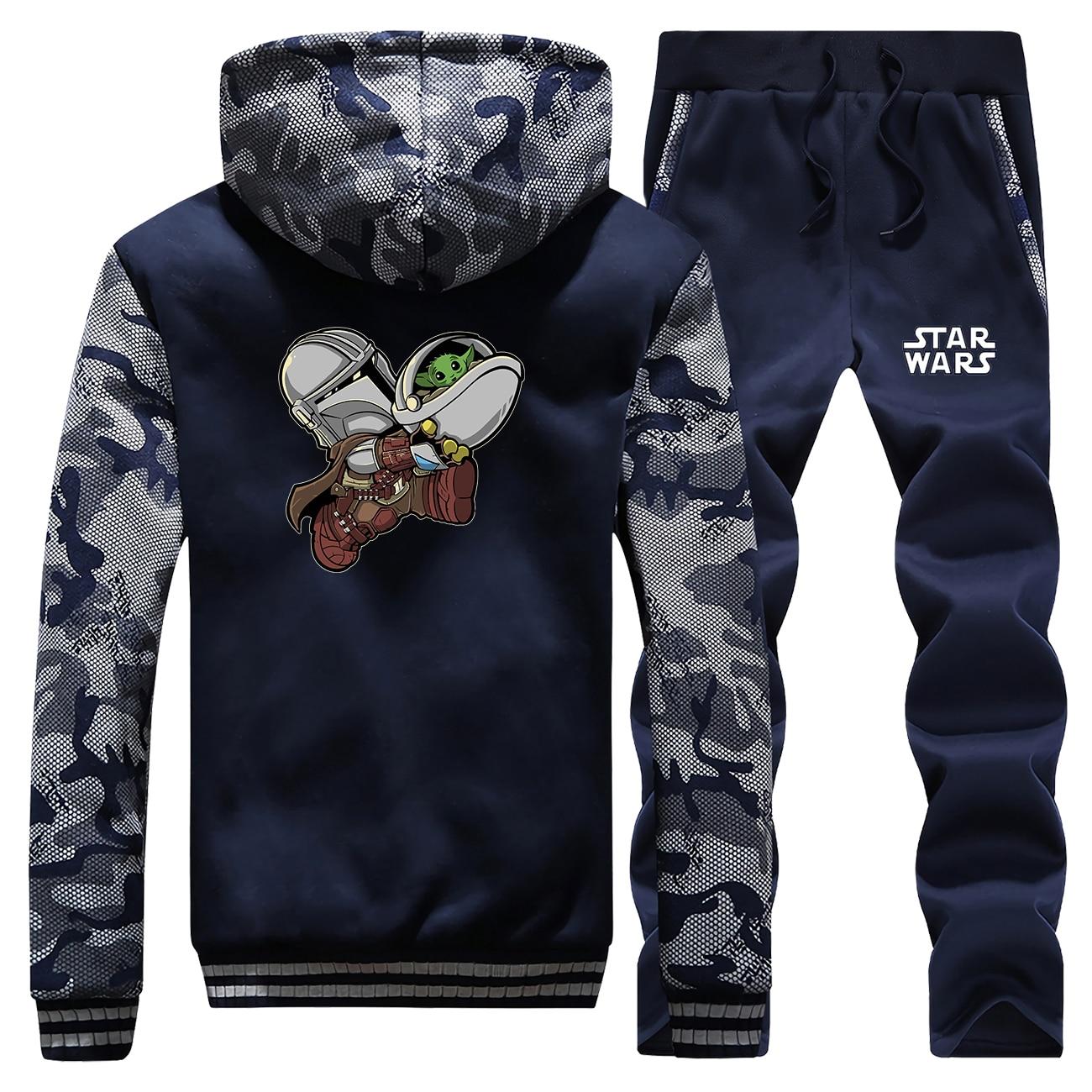 Baby Yoda Mandalorian Winter Men Camo Pans Sets Thick Warm Fleece Jacket Print Cartoon Hoodies Raglan Jackets Sweatshirts Coats