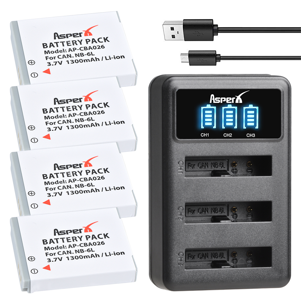 Initiative 4pcs Nb-6l Nb 6l Nb-6lh Batteries + Led Dual Usb Charger For Canon Ixus 310 Sx240 Sx275 Sx280 Sx510 Sx500 Hs 95 D10 S120 S200 100% Original