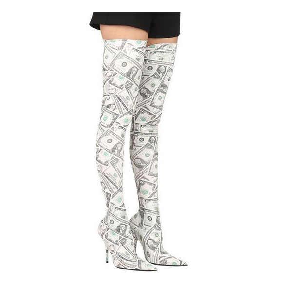 GCYFWJ Altın Bling Payetli Elastik Çorap Uzun Çizmeler Kadın Seksi Stiletto Yüksek Topuklu Sivri Burun parti ayakkabıları Uyluk Yüksek Çizmeler Kadın