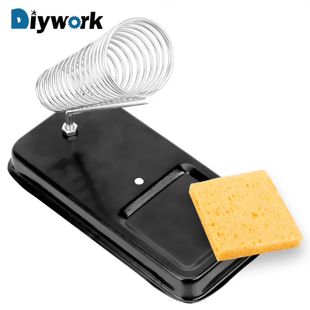 DIYWORK Electric Soldering Iron Stand Holder With Welding Cleaning Sponge Pads High Temperature Resistance Metal Support Station