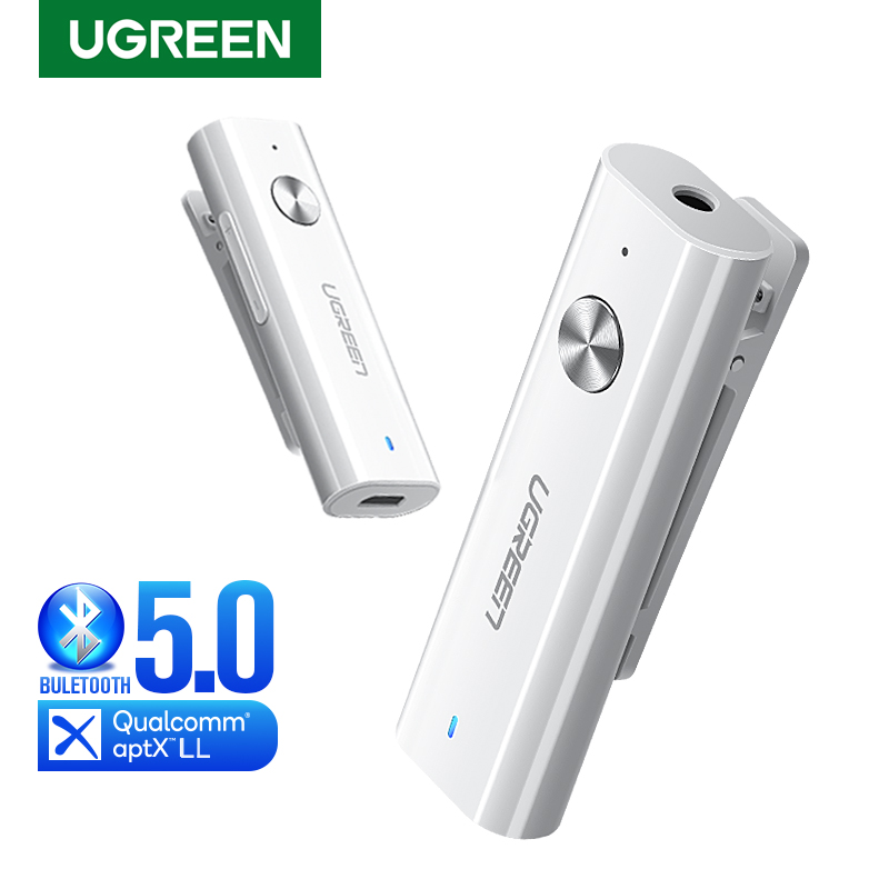 UGREEN Bluetooth Receiver 5.0 HiFi Wireless Audio Adapter Support Microphone 3.5mm AUX Bluetooth AptX LL Adapter With Battery
