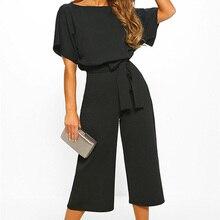 New 2020 Summer Fashion Sashes Button Short Sleeve Women Jum