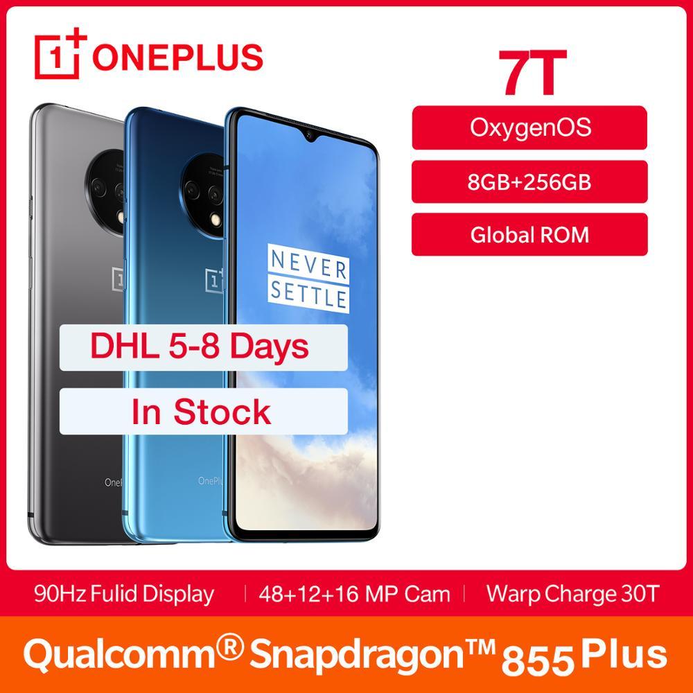 "In Stock 2019 Global ROM OnePlus 7T 8GB 256GB Smartphone Snapdragon 855 Plus 6.55"" Screen AMOLED 90Hz 30W 3800mAh Smartphone Hot"