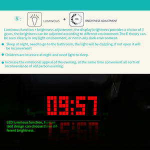 Alarm-Clock Mirror Lcd-Table-Light Usb-Cable Snooze-Display Time Night Multifunction