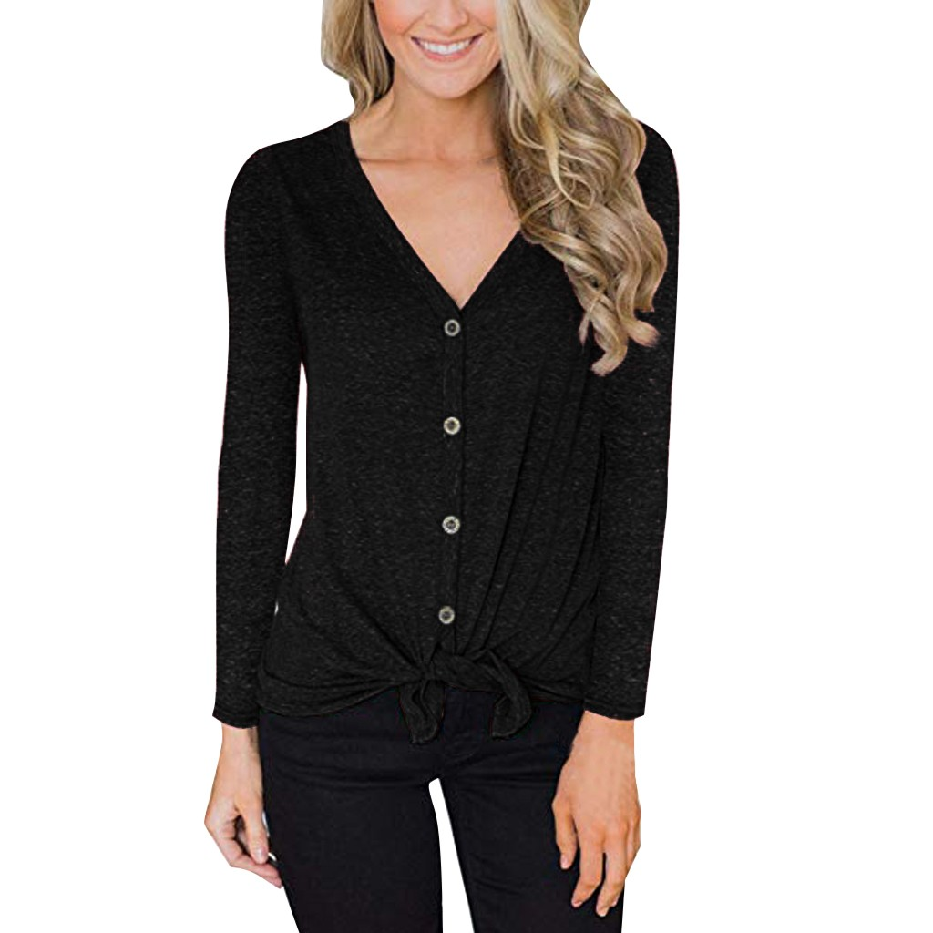 Fashion Women Solid Color Tops Casual V Neck Long Sleeve Knit Tie Front Button Down Blouse