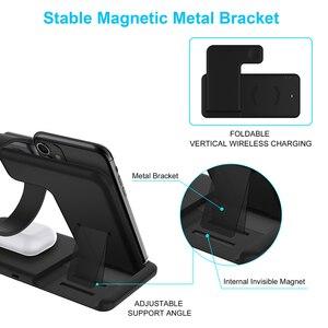 Image 3 - Беспроводное зарядное устройство 15 Вт 4 в 1, базовая док станция для iPhone 11 Pro Max XS XR 8 Apple Watch 5 4 3 2 AirPods 3 2 1, зарядная подставка