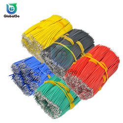 100pcs/Lot 0.14mm Tin Lead Tin Plated Copper Wire Melt Core Solder Soldering Wire UL1007 24AWG PVC Electronic Cable 8 CM