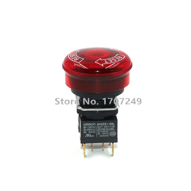 100% new original Omron rotary button emergency stop switch A165E-02L 24V with light Emergency stop button A165E-LS-24D-02