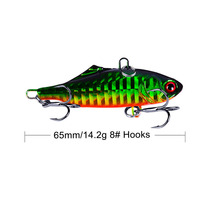 1PCS 6.5cm 14.2g VIB Fishing Lures Bionic Bait Fish Hard Bass Vibration Lure Crankbait Head Hooks