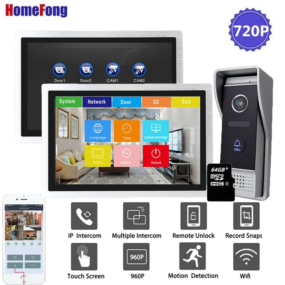 Homefong 10 Inch Wi-fi Video Door Phone Doorbell Intercom 720P Touch Screen Home Intercom System Unlock Record Motion Detection