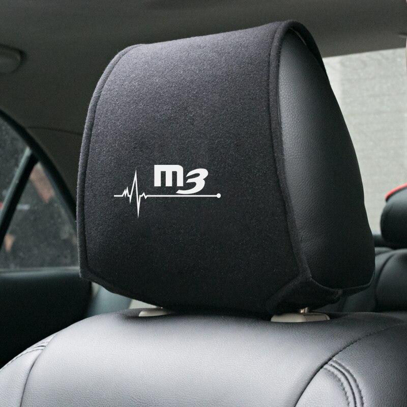 2x MAZDA white headrest seat cushion protective cover