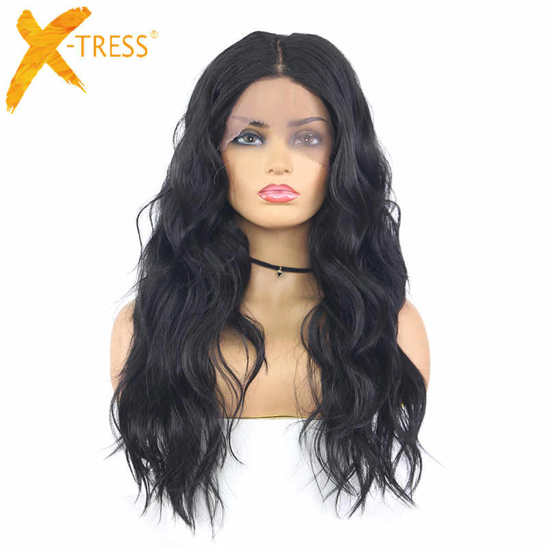 "X-TRESS Black Color Synthetic Lace Front Wig Natural Wave Ombre Pink Grey Colored Cosplay Heat Resistant Lace Wig 18"" For Women"