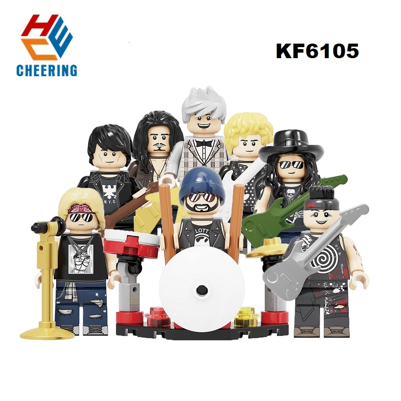 Building Blocks Rock Band Guns N' Roses Axl Rose DJ Ashba Tommy Stinson Frank Ferrer Liebherr Figures Toys For Children KF6105