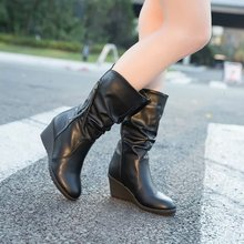 Winter Boots 2019 Women Wedge Mid Calf Shoes Black Fashion Mother Leather Round Toe Ladies
