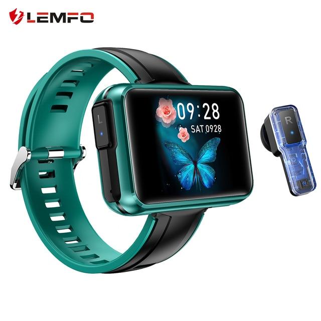 LEMFO TWS Wireless Bluetooth Earphones Smart Watch Men 1.4 Inch Big Customized Dials Bluetooth Calls Smartwatch pk airpods set 1