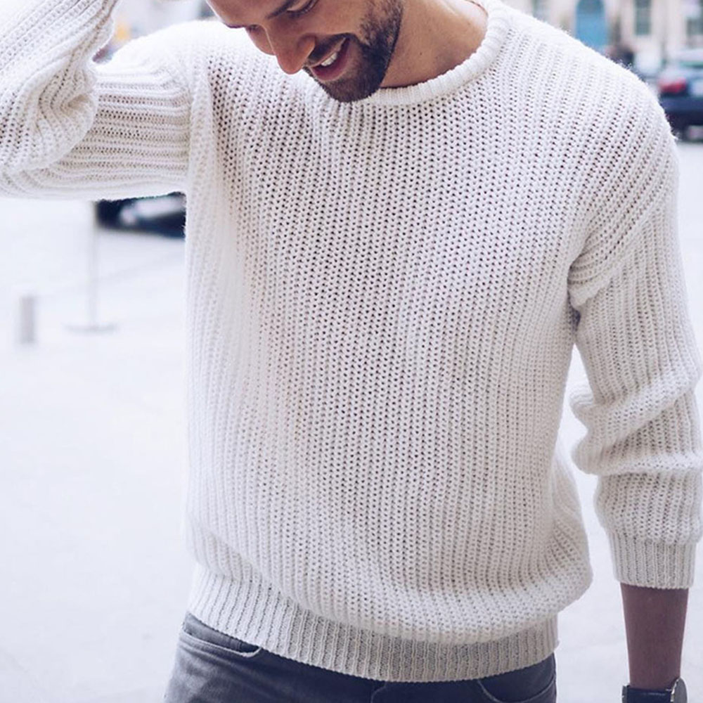 Round Neck Standard Plain Winter Men's Sweater Casual Loose Solid White Black Male Pullover Jumper Autumn Warm Tops Fashion