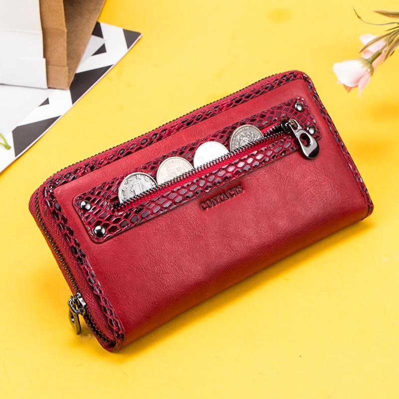Купить с кэшбэком Contact's Genuine Leather Women Wallet Long Female Coin Purse Zipper Portomonee Clutch Money Bag Big Capacity RFID Card Holder