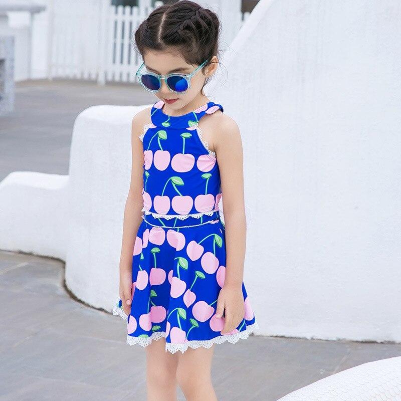 New Style KID'S Swimwear Girls Cute Cherry Children Wing Princess Dress One-piece CHILDREN'S Swimsuit Send Hat