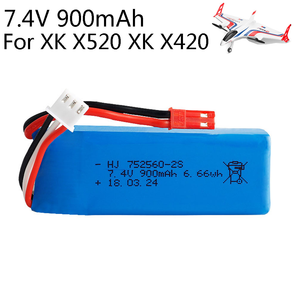 <font><b>7.4V</b></font> <font><b>900mAh</b></font> 2S Lipo <font><b>battery</b></font> 752560 JST Plug for XK X520 XK X420 6 Channels Brushless Aileron <font><b>RC</b></font> helicopters toys spare parts image