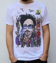 T-shirt avec Personnages de Tim BURTON, coccinelle, jus de fruit, Skellington, Willy, Wonka, Reine Rouge