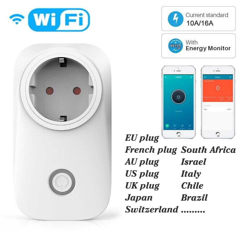 Россия ЕС Smart Plug Wi-Fi розетка Мощность производителем электрических Счетчиков 10A/16A Мощность монитор Функция времени Tuya приложения SmartLife Упра...