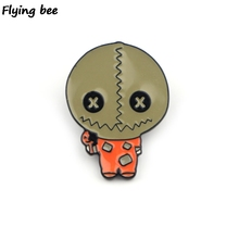 Flyingbee Trick R Treat horror Pins Brooch jacket Pin Enamel Pins Badges Lapel Pin Brooches Badge for Friends Women Men X0428 k313 trick r treat horror pins metal brooches and pins enamel pin for backpack bag badge brooch t shirt halloween jewelry