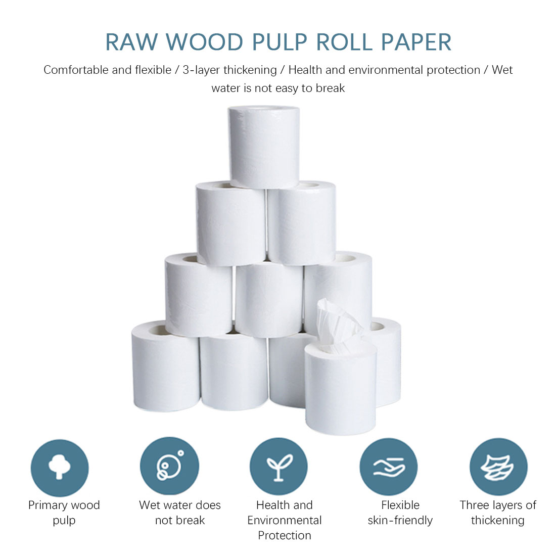 3ply Toilet Paper White Toilet Tissue Soft Hollow Replacement Roll Paper Prevent Flu Cleaning Toilet Tissue Clean Z1