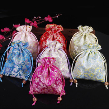 Happy Chinese Silk Pouch Satin Jewelry Bag Drawstring Small Gift Bags High Quality Fabric Floral Packaging Sachet  50pcs/lot