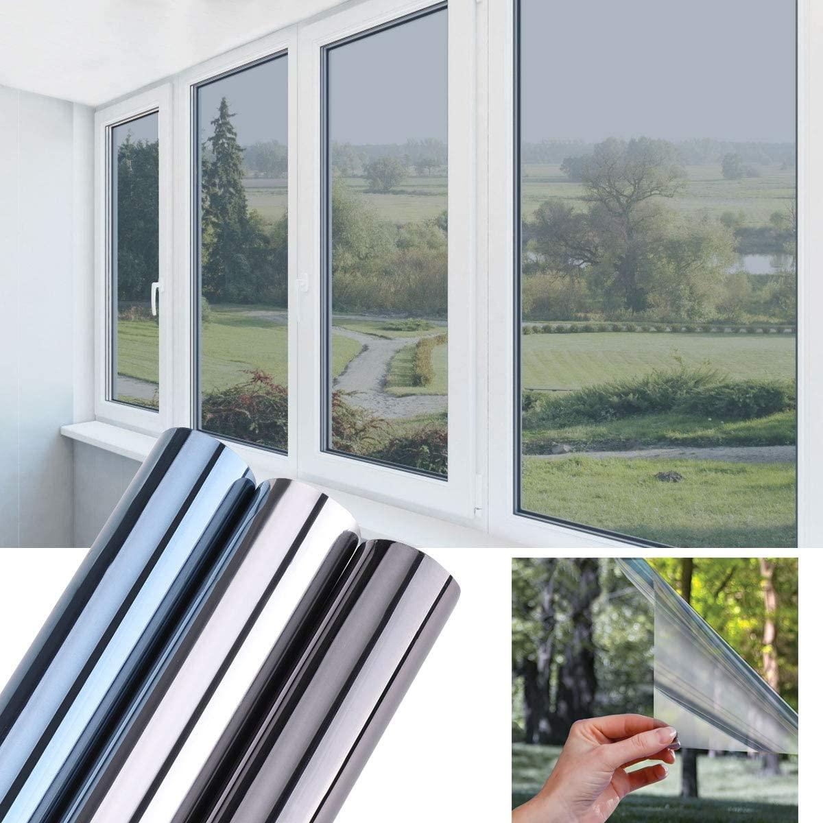 LUCKYYJ Privacy Window Film Sun Blocking Mirror Reflective Window Tint Self-adhesive Film Heat Control Anti UV Window Stickers